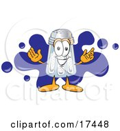 Clipart Picture Of A Salt Shaker Mascot Cartoon Character Standing In Front Of A Blue Paint Splatter On A Business Logo