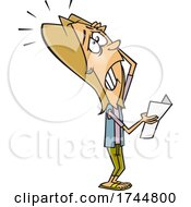 Cartoon Woman Reading Bad Grades From A Report Card