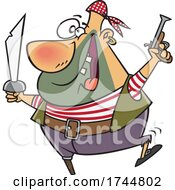 Cartoon Peg Leged Pirate With A Pistol And Sword
