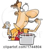 Cartoon Man Cooking And Testing The Sauce