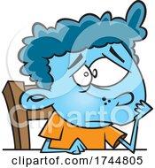 Cartoon Boy Feeling Blue