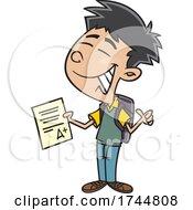 Cartoon Boy Showing A Good Grade