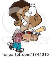 Poster, Art Print Of Cartoon Boy Packing Up His School Desk And Ready For Summer
