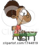 Poster, Art Print Of Cartoon Girl Sitting At A Desk