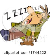 Cartoon Exhausted Dad Or Uncle Sleeping In A Chair