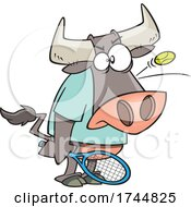 Cartoon Bull Playing Tennis With A Ball Bouncing Off Of His Head