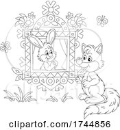 Black And White Rabbit In A Window Talking To A Fox