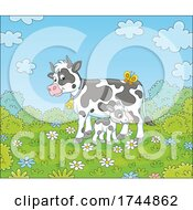 Calf And Mamma Cow On A Spring Day