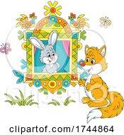 Rabbit In A Window Talking To A Fox