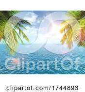 3D Tropical Landscape With Palm Trees Against The Blue Ocean