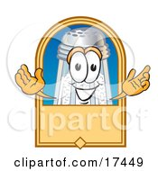 Clipart Picture Of A Salt Shaker Mascot Cartoon Character On A Blank Tan Label Logo Or Sign by Toons4Biz