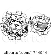 Wildcat Ice Hockey Player Animal Sports Mascot