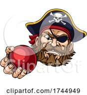 Pirate Cricket Ball Sports Mascot Cartoon