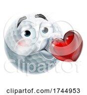 Poster, Art Print Of Golf Ball Kissing Heart Emoticon Emoji Icon Face