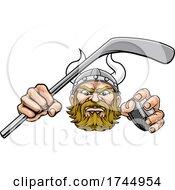 Poster, Art Print Of Viking Ice Hockey Sports Mascot Cartoon