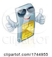 Sim Card Thumbs Up Cool Shades Cartoon Mascot