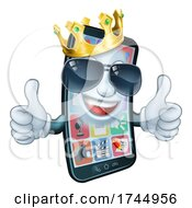 Mobile Phone Cool King Thumbs Up Cartoon Mascot