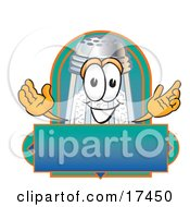 Clipart Picture Of A Salt Shaker Mascot Cartoon Character Over A Blank Label by Toons4Biz