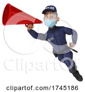 3d White Male Police Officer On A White Background