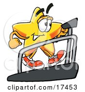 Star Mascot Cartoon Character Walking On A Treadmill In A Fitness Gym