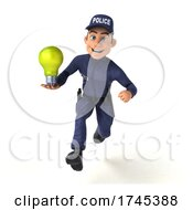 Poster, Art Print Of 3d White Male Police Officer On A White Background