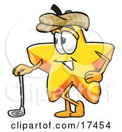 Clipart Picture Of A Star Mascot Cartoon Character Leaning On A Golf Club While Golfing