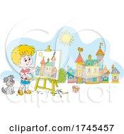 Boy Painting A Village