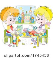 Boy And Girl Making Paper Crafts