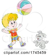 Boy And Dog Playing With A Beach Ball