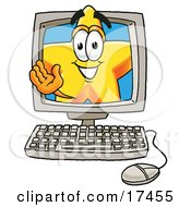 Clipart Picture Of A Star Mascot Cartoon Character Waving From Inside A Computer Screen