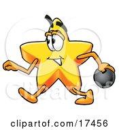 Star Mascot Cartoon Character Holding A Bowling Ball
