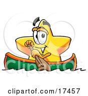 Star Mascot Cartoon Character Rowing A Boat