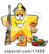 Clipart Picture Of A Star Mascot Cartoon Character Duck Hunting Standing With A Rifle And Duck by Toons4Biz