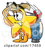 Clipart Picture Of A Star Mascot Cartoon Character Swinging His Golf Club While Golfing