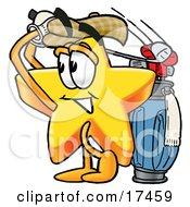 Star Mascot Cartoon Character Swinging His Golf Club While Golfing