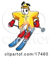 Clipart Picture Of A Star Mascot Cartoon Character Skiing Downhill