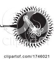 Woodcut Frying Squid by xunantunich