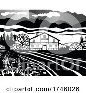 Poster, Art Print Of Swiss Chalet Style House In The Meadows Of Switzerland In Black And White Retro Stencil Style