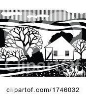 Cajun House Creole Cottage Or Acadian Style Dwelling Or Architecture In Black And White Retro Stencil Style