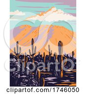 Saguaro Cactus With Wasson Peak In Tucson Mountains Located Within The Saguaro National Park In Arizona WPA Poster Art