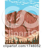 06/10/2021 - Longs Peak In The Northern Front Range Of The Rockies Or Rocky Mountains Within The Rocky Mountain National Park Wilderness In Colorado WPA Poster Art
