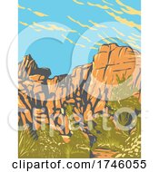 06/10/2021 - The Great Burrito Rock Formation In The Real Hidden Valley Area Of Joshua Tree National Park California WPA Poster Art