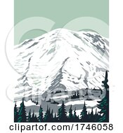 06/10/2021 - Emmons Glacier On Northeast Flank Of Mount Rainier Located In Mount Rainier National Park In Washington State WPA Poster Art