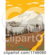 06/10/2021 - Mount Rainier Viewed From Cowlitz Divide Along The Wonderland Trail Located In Mount Rainier National Park In Washington State WPA Poster Art