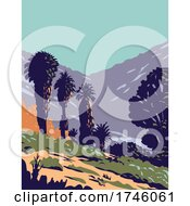 06/10/2021 - California Fan Palms In Cottonwood Spring Oasis Located In Joshua Tree National Park In California WPA Poster Art