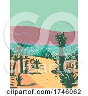 06/10/2021 - Cholla Cactus Garden Nature Trail Near Desert Hot Springs Located In Joshua Tree National Park In California WPA Poster Art