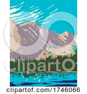 06/10/2021 - Bear Lake In The Sheer Flanks Of Hallett Peak And The Continental Divide Within In The Rocky Mountain National Park Wilderness In Colorado WPA Poster Art