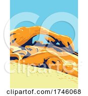 06/10/2021 - Granite Arch Known As Arch Rock Spanning Over A Boulder Field In Joshua Tree National Park In California WPA Poster Art