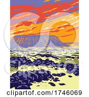 Amboy Crater Extinct Cinder Cone Volcano In Mojave Desert Within Mojave Trails National Monument California WPA Poster Art
