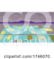 06/10/2021 - Separation Pond At A Lithium Extraction Mine With Mountain Done In WPA Poster Art Style